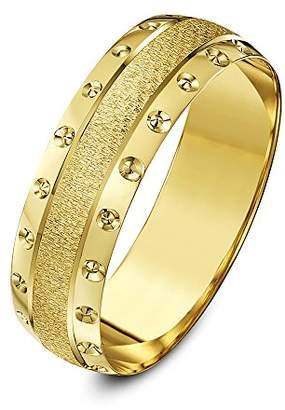 Theia 9ct Yellow Gold Heavy Weight - Crystallised Centre and Circle Design Edge D-Shape 6mm Wedding Ring - Size V