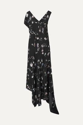 Preen Line Dana Asymmetric Floral-print Crepe De Chine Midi Dress - Black