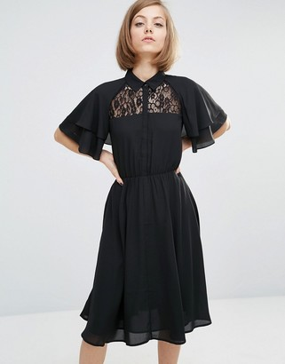 Lost Ink Shirt Dress With Cape Sleeve Detail $70 thestylecure.com