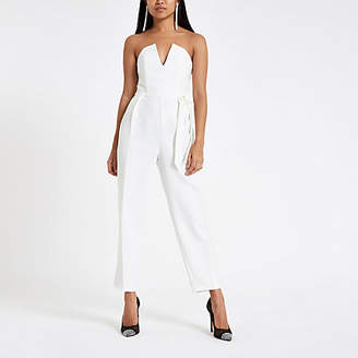 River Island Petite white tie bow bardot tapered jumpsuit