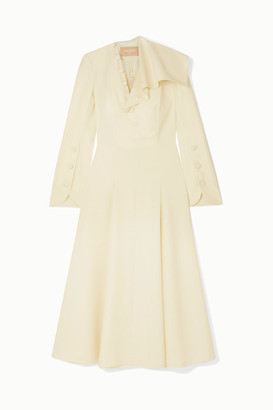 MATÉRIEL Button-detailed Ruffled Wool-blend Midi Dress - Ivory
