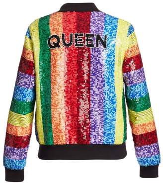 Alice + Olivia Queen Sequin Rainbow Bomber Jacket