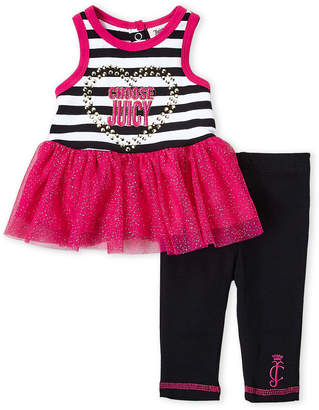 Juicy Couture Newborn/Infant Girls) Two-Piece Stripe Tutu Tank & Leggings Set