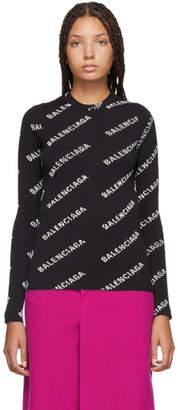 Balenciaga Black and White Logo Crewneck Sweater