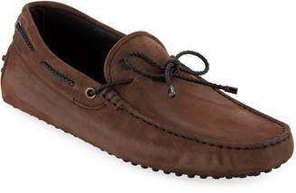 Tod's Men's Gommini Nubuck Drivers with Braided Tie, Brown