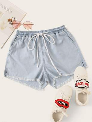 Shein Raw Hem Drawstring Waist Denim Shorts
