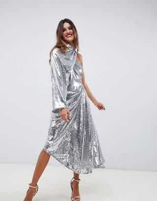Asos Edition EDITION embellished asymmetric drape dress