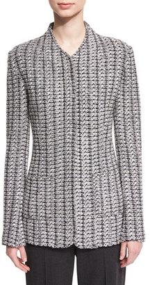 St. John Collection Windsor Knit Jacket w/ Patch Pockets, Hematite Multi $1,695 thestylecure.com