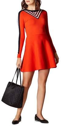Karen Millen Stripe Detail Fit-and-Flare Dress