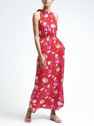 Floral Tie-Neck Maxi Dress $158 thestylecure.com