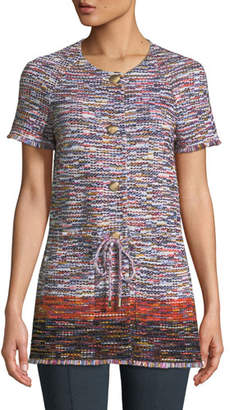 St. John Vertical Fringe Multi-Tweed Short-Sleeve Jacket