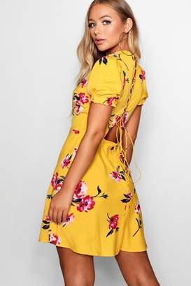 boohoo Lace Up Back Floral Skater Dress