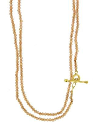 Cathy Waterman Peach Moonstone Beaded Necklace - Yellow Gold