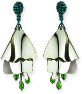Oscar de la Renta Large Iridescent Impatiens Clip-On Earrings, Green