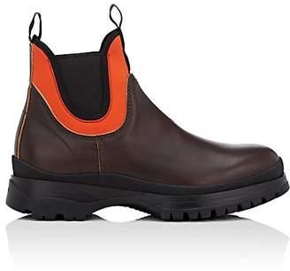 Prada Men's Neoprene-Trimmed Leather Chelsea Boots