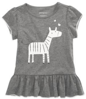 First Impressions Toddler Girls Zebra-Print Flounce-Hem Top, Created for Macy's