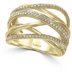 Effy 14K Yellow Gold Wrapped 0.45TCW Diamond Ring