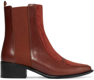 Leather And Suede Chelsea Boots - Brick