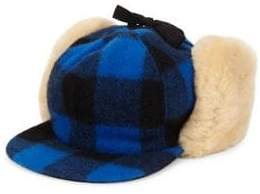 Crown Cap Buffalo Check Shearling Hat