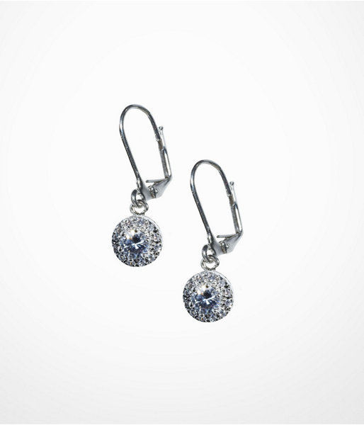 Cubic Zirconia And Pave Drop Earrings