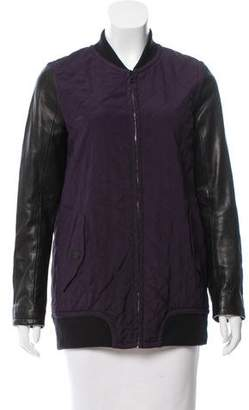 Rag & Bone Silk & Leather-Trimmed Bomber Jacket