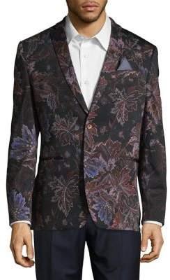 Tallia Orange Slim Fit Leaf Print Cotton Sportcoat