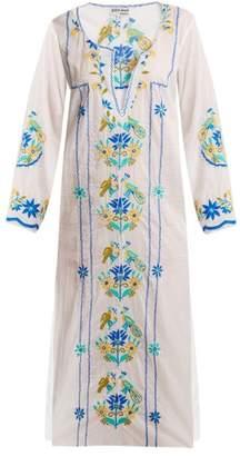 Juliet Dunn Floral Embroidered Cotton Kaftan - Womens - White Multi