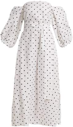Lisa Marie Fernandez Rosie off-the-shoulder polka-dot linen dress