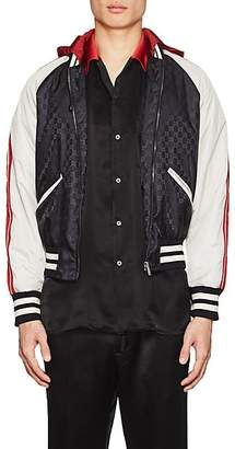 Gucci Men's GG Supreme Colorblocked Padded Bomber Jacket - Black