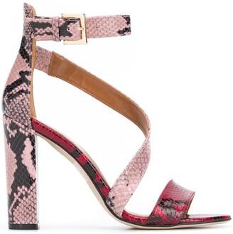 Paris Texas python block heel sandals