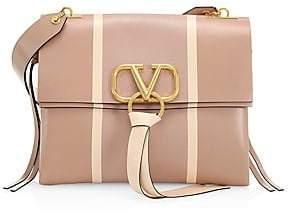Valentino Garavani Women's Medium VRing Stripe Leather Shoulder Bag