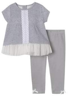 Baby Girl's Two-Piece Lace-Trimmed Top & Leggings Set