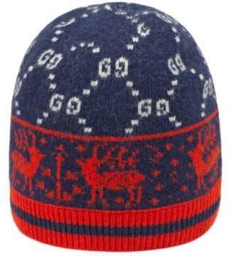 Gucci Children's GG reindeers wool hat