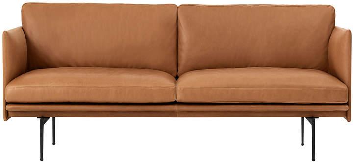 Muuto - Outline Sofa 2-Sitzer, Cognac silk leather / verkehrsschwarz (RAL 9017) (EU)