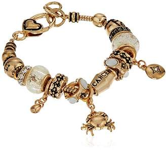 Cancer Zodiac Sign Gold Tone Charm Bracelet