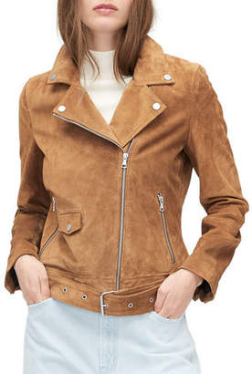 UGG Stacey Lamb Suede Moto Jacket w/ Belt
