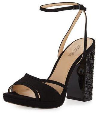 MICHAEL Michael Kors Yoonie Crystal Platform Sandal, Black $150 thestylecure.com