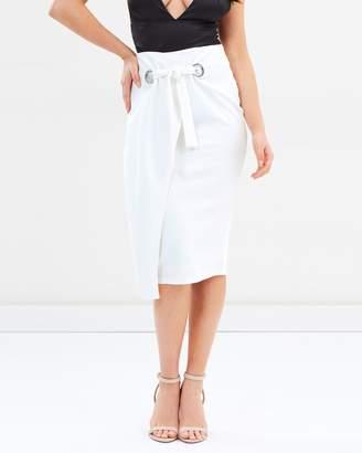 Missguided Eyelet Belt Midi Skirt