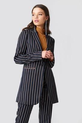 Na Kd Classic Striped Long Blazer Dark Navy
