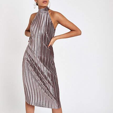 Womens Silver plisse bodycon halterneck dress