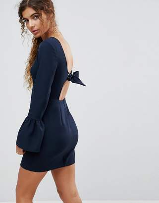 Asos Design Bow Back Mini Dress with Fluted Sleeve