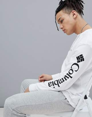 Columbia Logo Sleeve Long Sleeve Top in White/Black