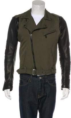 Pierre Balmain Leather-Trimmed Biker Jacket