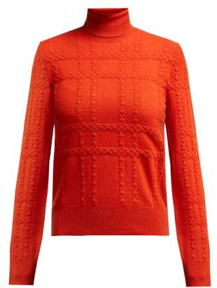 Bottega Veneta Intrecciato Grid Knit Cashmere Roll Neck Sweater - Womens - Red