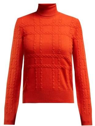 Bottega Veneta Intrecciato Grid Knit Cashmere Roll Neck Sweater - Womens - Red