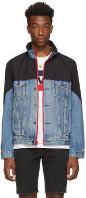 Levi's Levis Blue and Black Denim Mockneck Trucker Jacket
