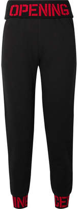 Opening Ceremony Intarsia-trimmed Cotton-jersey Track Pants - Black