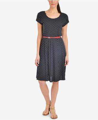 NY Collection Petite A-Line Polka Dot Dress