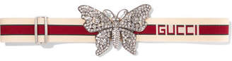 Gucci Crystal-embellished Stretch-canvas Waist Belt - Ivory