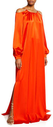 Rosetta Getty Long-Sleeve Cold Shoulder Satin Gown